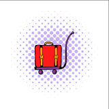 Luggage on trolley comics icon Royalty Free Stock Photography