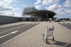 Luggage trolley at cruise ship terminal Royalty Free Stock Image