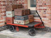 Luggage Trolley. An Old Style Railway Platform Luggage Trolley Stock Photography