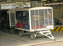 Luggage trolley ready to transport Royalty Free Stock Image