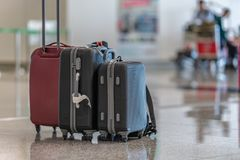 Luggage Trolley Travel Bag At Airport Terminal royalty free stock photography