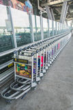 Luggage trolleys at the airport Royalty Free Stock Photos