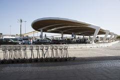 Luggage trollies at airport drop off area Stock Photos