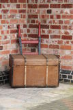Luggage Trunk. A Large Luggage Trunk on a Traditional Railway Trolley Stock Photography
