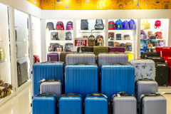 Luggage. Variety of luggage and backpack royalty free stock photo