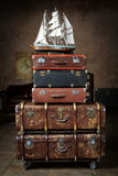 Luggage. Vintage Luggage from stacked old leather suitcases royalty free stock photos