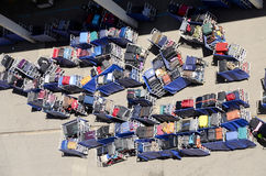 Luggage Waiting to be Loaded on a Cruise Ship Royalty Free Stock Photo