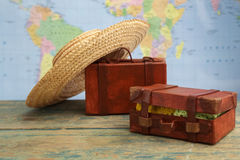 Luggage on world map background. Travel concept Royalty Free Stock Image