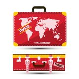 Luggage with World Map Vector Red Traveling Suitcase. Travel Bag Symbol stock illustration