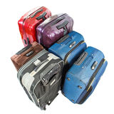 Luggages II. Sets of luggage bags over white background stock photo