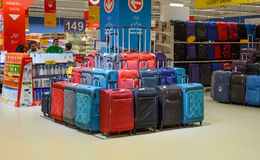 Luggages for sale at Hyperstar Supermarket. Hyperstar Supermarket, Emporium Mall, Lahore Pakistan Stock Image