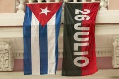 26 luglio bandiera e bandiera cubana, Avana, Cuba Fotografia Stock Libera da Diritti
