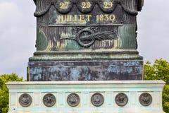 Luglio basa Bastile Square Place de la Bastille Parigi Francia Immagine Stock Libera da Diritti