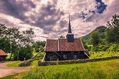 25 luglio 2015: Chiesa della doga di Rodven, Norvegia Fotografia Stock
