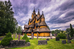 18 luglio 2015: Facciata di Heddal Stave Church in Telemark, Norvegia Fotografie Stock