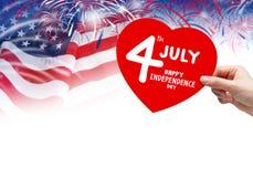 4 luglio festa dell'indipendenza felice Fotografia Stock Libera da Diritti