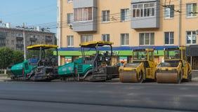 30 luglio 2016 Foto dell'attrezzatura per l'edilizia dalla strada fuori della t Fotografia Stock