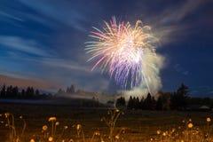 4 luglio fuoco d'artificio, stile country Immagini Stock
