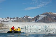 14 luglio ghiacciaio nelle Svalbard Fotografie Stock