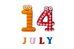 14 luglio Immagine del 14 luglio su fondo bianco Fotografia Stock Libera da Diritti