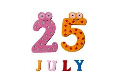25 luglio Immagine il 25 luglio, su un fondo bianco Immagini Stock Libere da Diritti