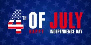 4 luglio, la festa dell'indipendenza felice di U.S.A. stars il manifesto illustrazione vettoriale
