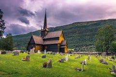 24 luglio 2015: Lom Stave Church, Norvegia Fotografia Stock