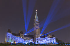 15 luglio 2015 - Ottawa, sulle costruzioni del Parlamento del Canada - del Canada Fotografia Stock Libera da Diritti