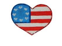 4 luglio Pin patriottico della fibula del cuore Fotografie Stock