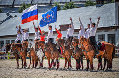 25 luglio 2015 Presentazione cerimoniale della scuola di guida di Cremlino su VDNH a Mosca Fotografia Stock