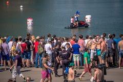 26 luglio 2015 Red Bull Flugtag Prima degli inizio della concorrenza Fotografia Stock Libera da Diritti