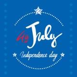 4 luglio segnare iscrizione con lettere per i manifesti Fotografia Stock Libera da Diritti