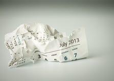 Luglio. Strato sgualcito del calendario Fotografia Stock