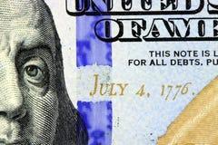 4 luglio 1776 su valuta degli Stati Uniti Fotografia Stock
