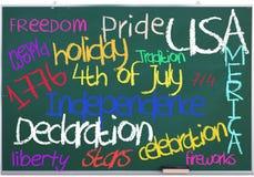4 luglio sulla lavagna verde Fotografia Stock
