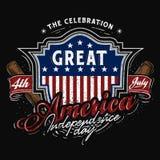 4 luglio tema di baseball del distintivo dell'america royalty illustrazione gratis