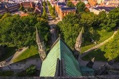 28 luglio 2015: Trondeim dalla cattedrale di NIdaros, Norvegia Fotografia Stock