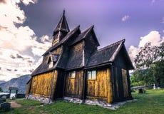 23 luglio 2015: Urnes Stave Church, sito dell'Unesco, in Ornes, la Norvegia Fotografia Stock Libera da Diritti