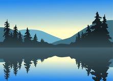 lugna lake royaltyfri illustrationer