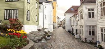 Lugna norsk gata Fotografering för Bildbyråer