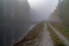 Lugna och dimmig morgon nära en kanal i Sverige arkivfoto