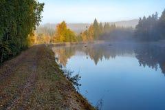 Lugna och dimmig morgon nära en kanal i Sverige royaltyfria bilder