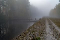Lugna och dimmig morgon nära en kanal i Sverige royaltyfri foto
