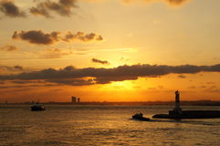 Lugna solnedgång i Istanbul Fotografering för Bildbyråer