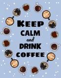 Lugna uppeh?lle och drinkkaffeaffisch Koppar kaffe smyckar F?r utdragen gullig vykort tecknad filmstil f?r hand vektor illustrationer