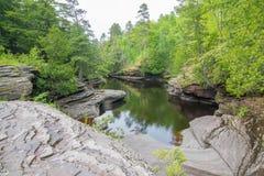 Lugna vatten på stenig skogshoreline av floden i delstatsparken för ett piggsvinbergvildmark i övrehalvön av Michigan royaltyfri fotografi