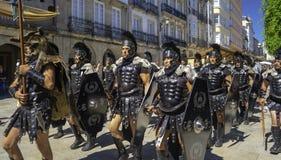 Lugo, Galicia; 06 17 2018: Pretorian Troop Arde Lucus, Party in Lugo. Lugo, Galicia/Spain; 06 17 2018: Pretorian Troop Arde Lucus, Party in Lugo stock photo