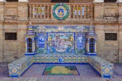 Lugo Provincie, Verglaasde tegelsbank bij het Vierkant van Spanje, Sevilla royalty-vrije stock afbeelding