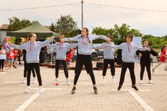 Street dance in urban style royalty free stock photography