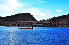 Lugu Lakeï ¼ ŒLige Villiage royalty-vrije stock foto